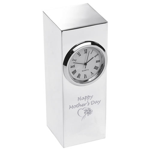 Happy Mother's Day Silver Plated Tower Desk Clock