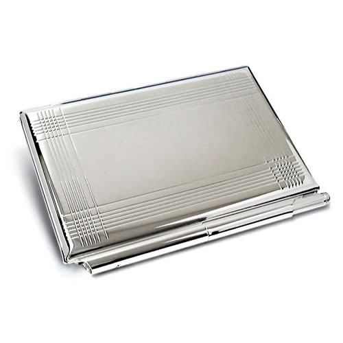 Engraved Silver Business Card Case, Notebook & Pen