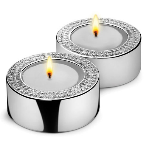 Pair of Engraved Silver & Diamante Tea Light Candle Holders