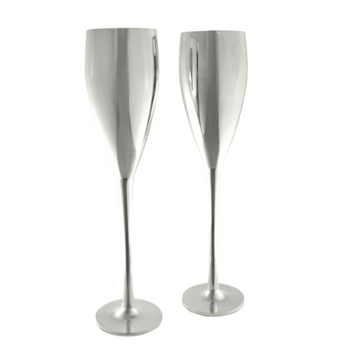 Pair Silver Plated Champagne Flutes