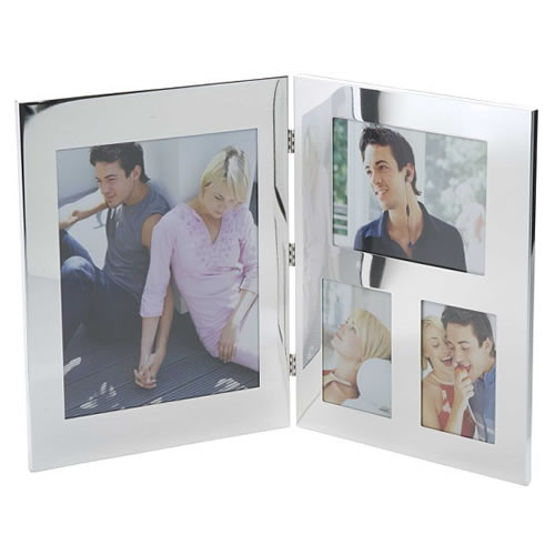 Engraved Silver Plated 4 Image Double Photo Frames