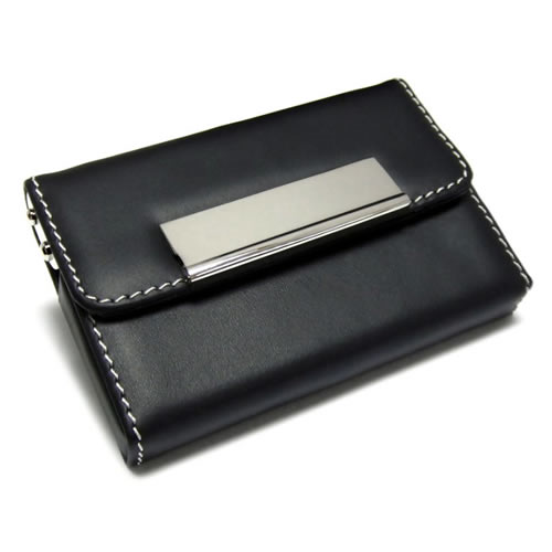 Engraved Leather Folding Business Card Case