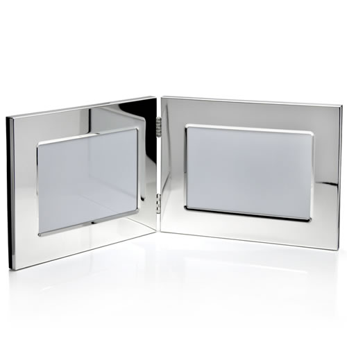 Engraved Silver 3.5x5in Landscape Double Photo Frames
