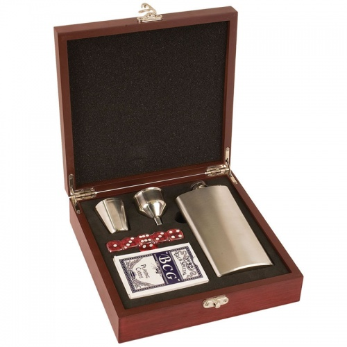 Rosewood Gift Set with Flask, Cards & Dice