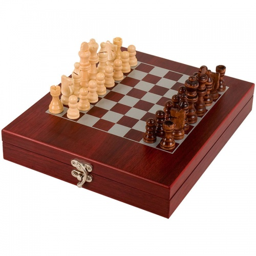 Travel Chess Set in Rosewood Case