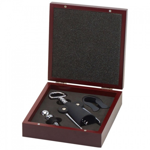 Three Piece Bar Accessories Gift Set in Rosewood Case