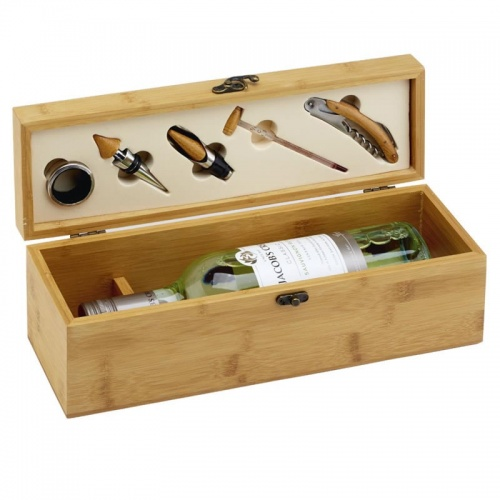 5pc Wine Accessories Gift Set in Bamboo Wood Box