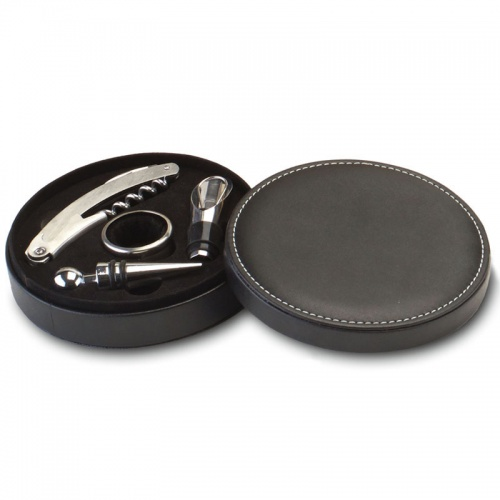 Wine Tools Gift Set in Circular Leather Case
