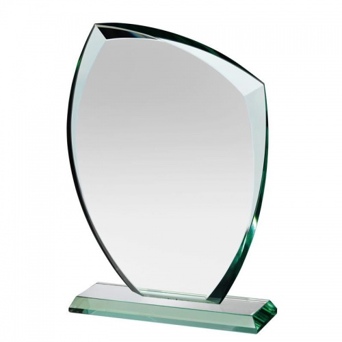 Engraved 6.5in Jade Glass Award Plaque - Autumn Leaf
