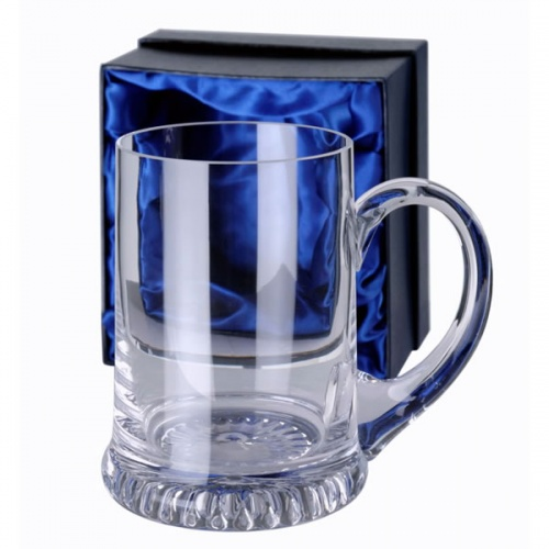 Engraved Clear Crystal Tankard with Curved Handle