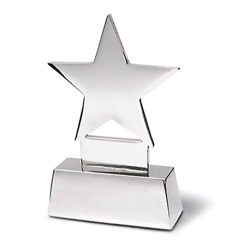Engraved Silver Star Place Card Holder
