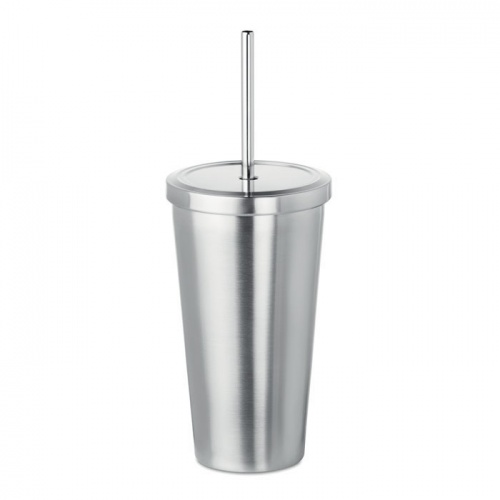 Stainless Steel Lidded Tumbler with Straw