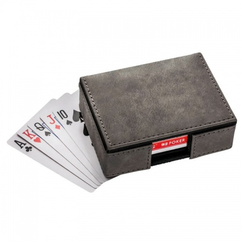 Single Deck of Cards in Black PU Leather Case