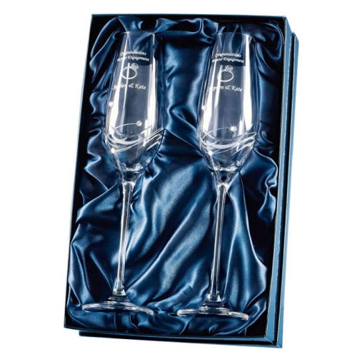 Engraved Crystal Diamante Champagne Flutes
