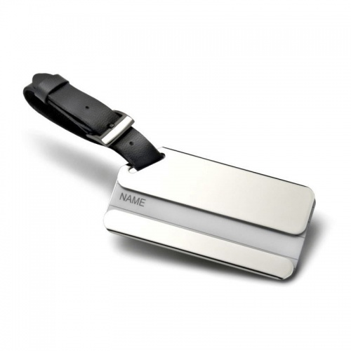 Engraved Leather & Silver Plated Luggage Tag