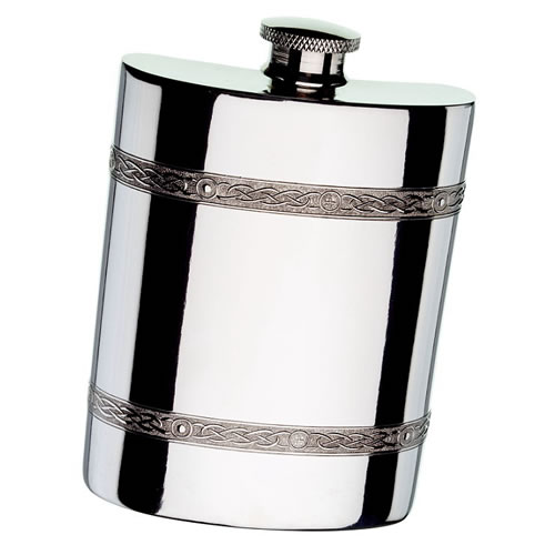 Engraved Celtic Band 6oz Pewter Flask