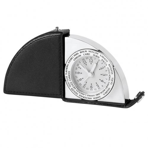 Horloge de voyage pliante en cuir gravé et argent
