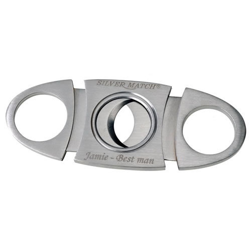 Engraved Brushed Metal Oval Twin Blade Cigar Cutter