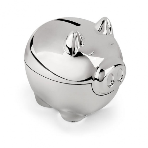 Engraved Silver Plated Piggy Bank