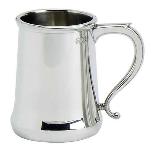 Engraved Fine Quality Cast Pewter Pint Tankard