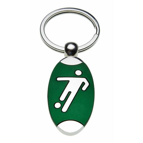 Engraved Silver Plated Footballer Keyring