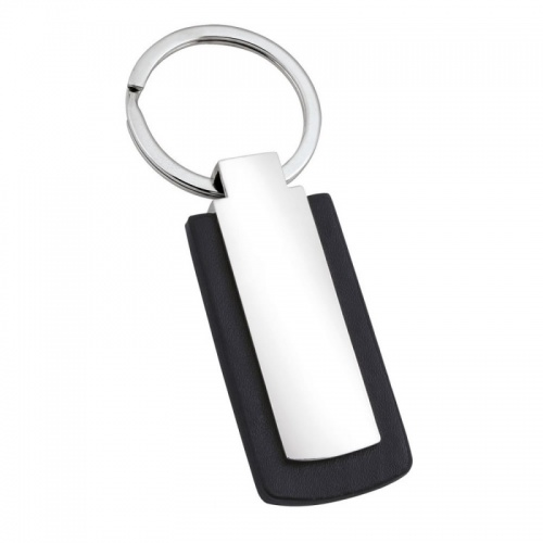 Engraved PU Leather and Silver Keyring