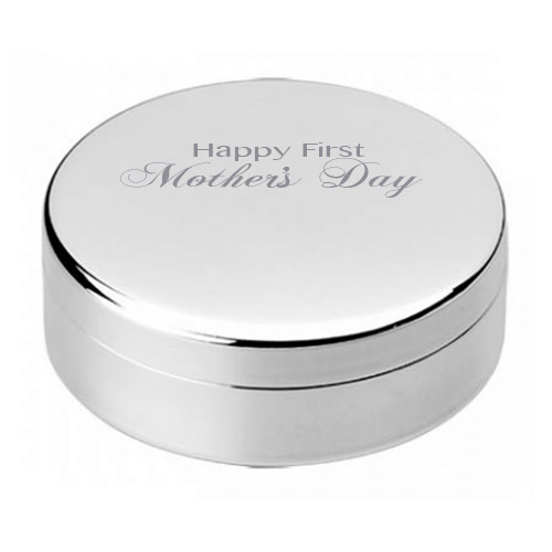 First Mother's Day Silver Round Jewel Case