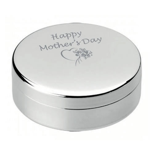 Happy Mother's Day Silver Round Jewel Case