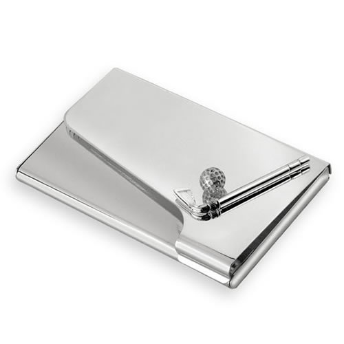 Engraved Silver Plated Golf Business Cards Case
