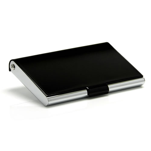 Engraved Black and Silver Business Cards Case