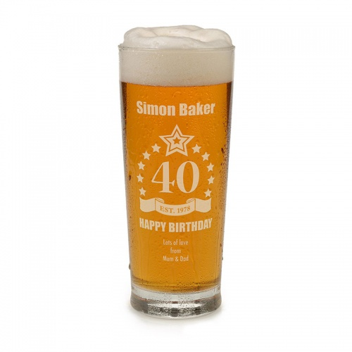 Engraved 40th Birthday Pint Glass Tankard
