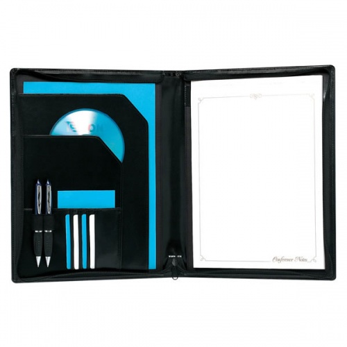 A4 Zip Round Conference Folder in Black PU Leather