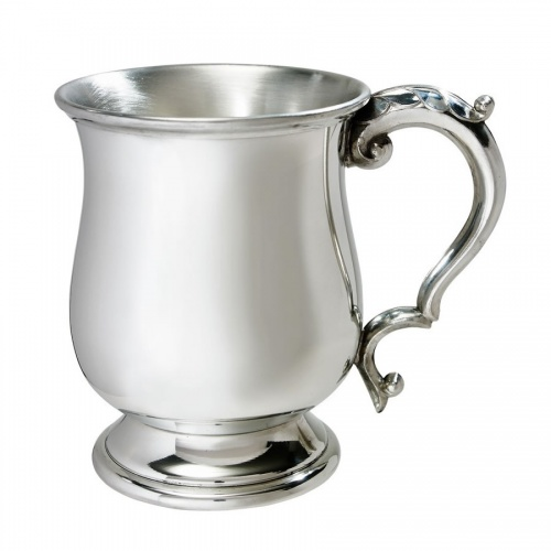 Engraved Pewter Pint Tankard - Georgian