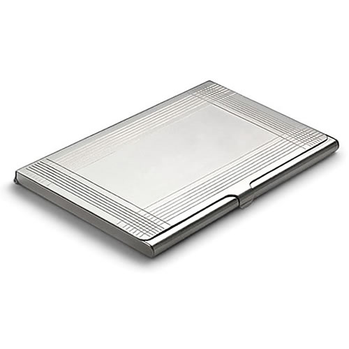 Engraved Silver 'Deco' Business Card Case