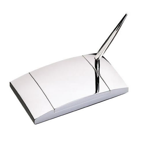 Engraved Silver Plated Pen Stand and Desk Tidy