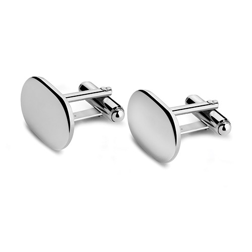 Pair Engraved Heavily Silverplated Cuff Links (Oval)