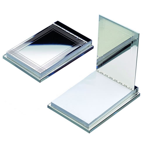 Engraved Silver Plated Flip Top Memopad Holder