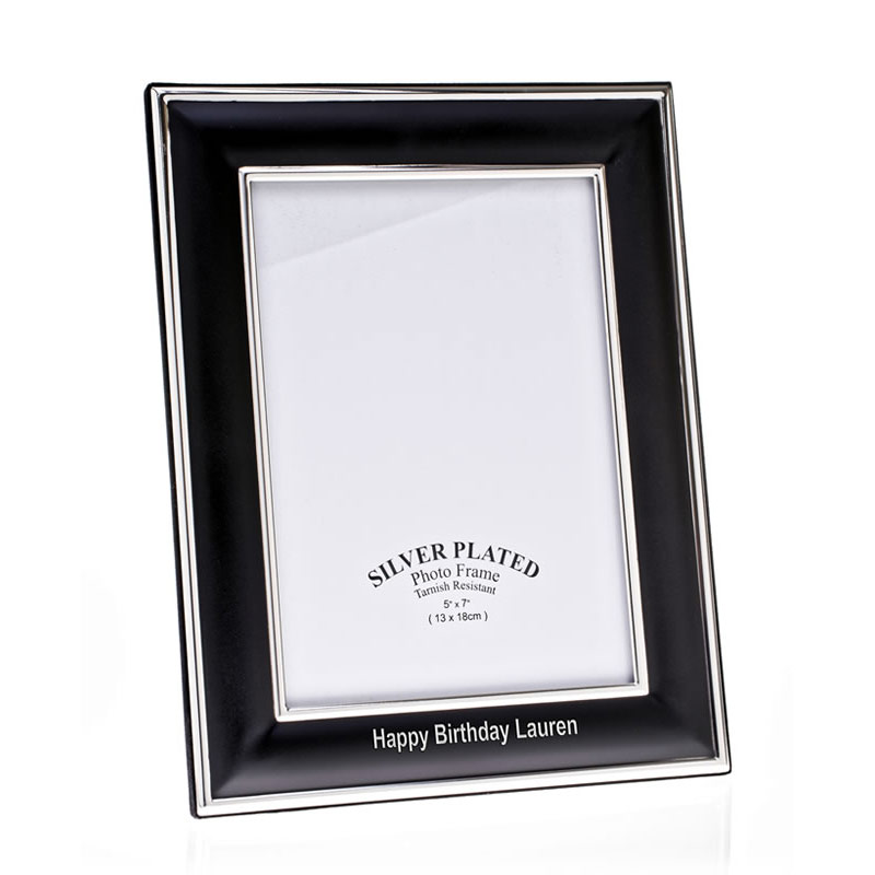 Black & Silver Plated Photo Frame 6x8in