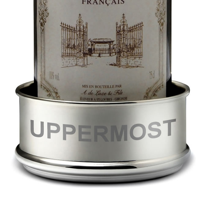 Engraved Silver Plated Raised Wine Bottle Coaster