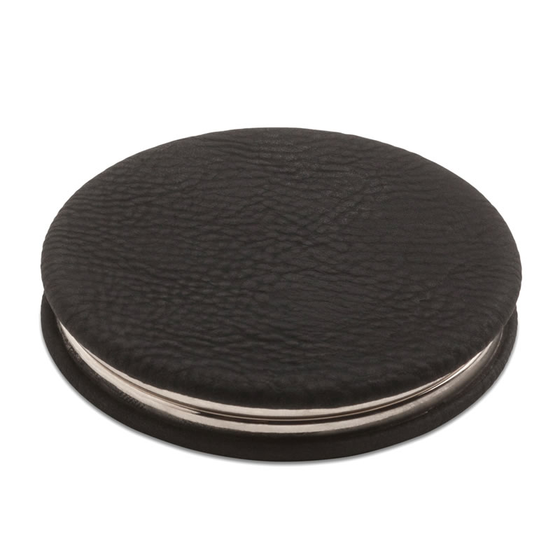 Personalised Folding Compact Mirror with Leather Cover