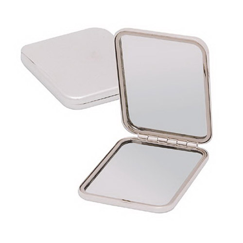 Engraved Silver Plated Square Purse Mirror