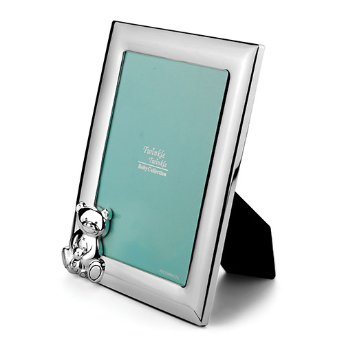 Engraved Silver Teddy Bear Baby Photo Frame