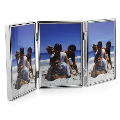 Engraved Silver Plated Triple Folding Photo Frames