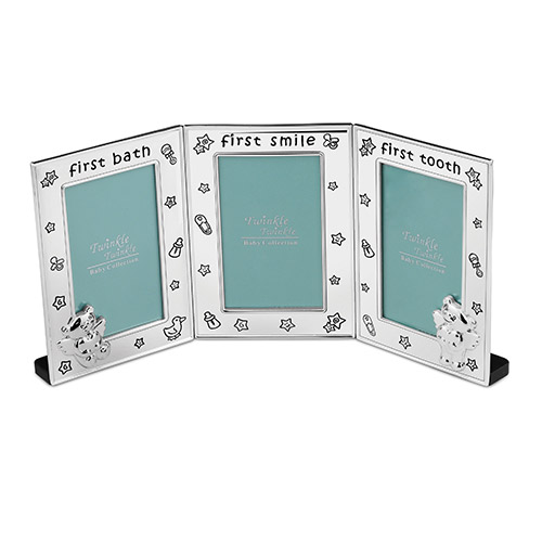 Engraved Silver Plated Baby Triple Photo Frame