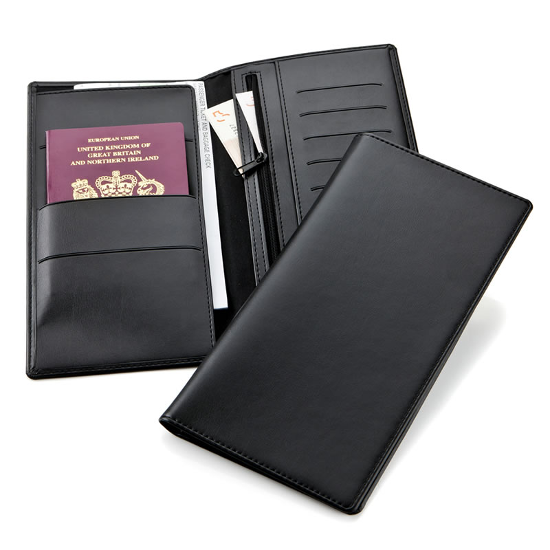 Personalised Deluxe Travel Wallet in Black Belluno Leather