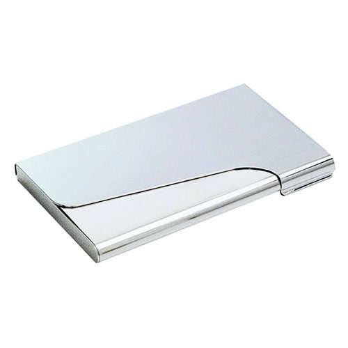 Engraved Silver Business Card Case with Curved Lid