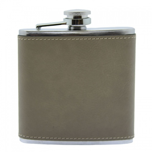 6oz Steel Hip Flask with Tan PU Leather Cover