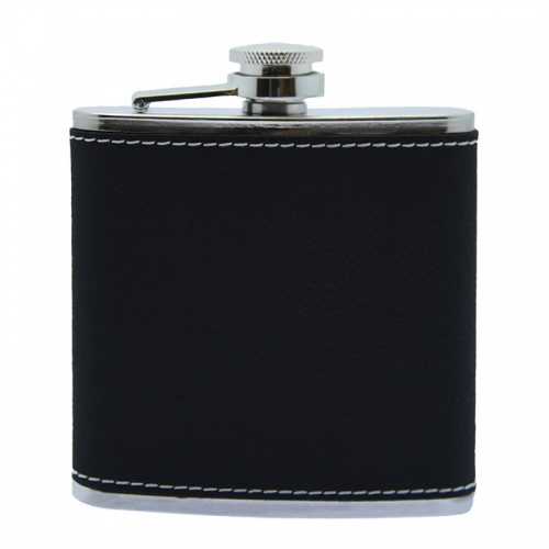 6oz Steel Hip Flask with Black PU Leather Cover