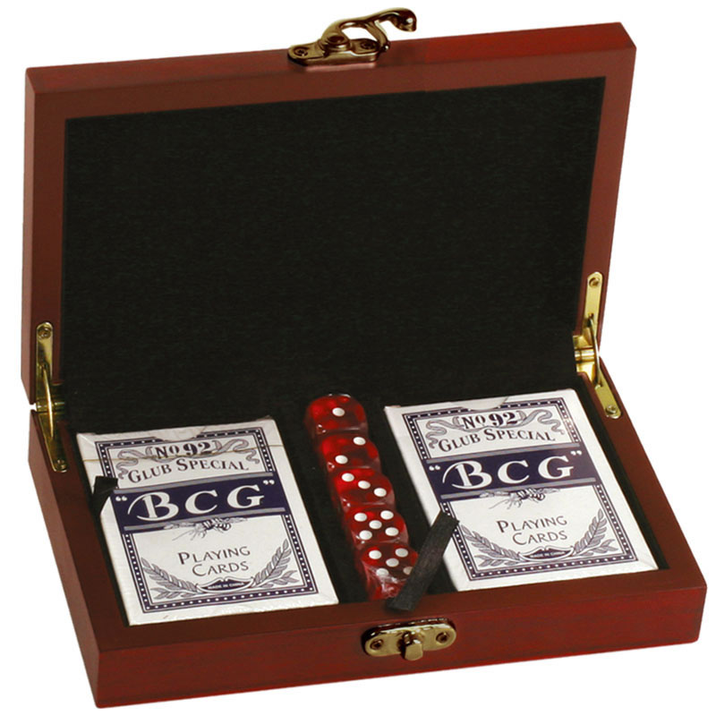 Twin Playing Cards Set with Dice in Rosewood Case