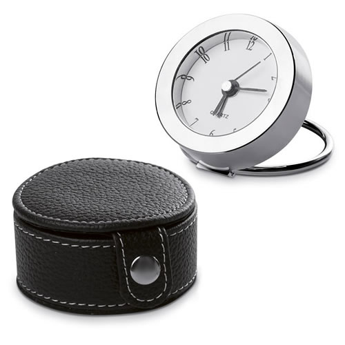 Engraved Travel Clock with Leather Case